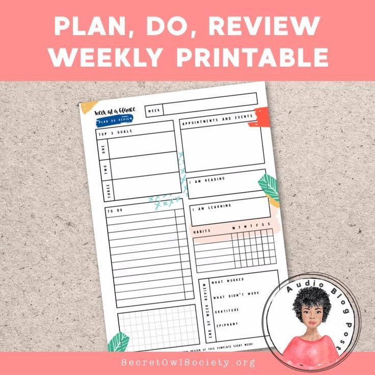 Get the Plan, Do, Review weekly printable and design a