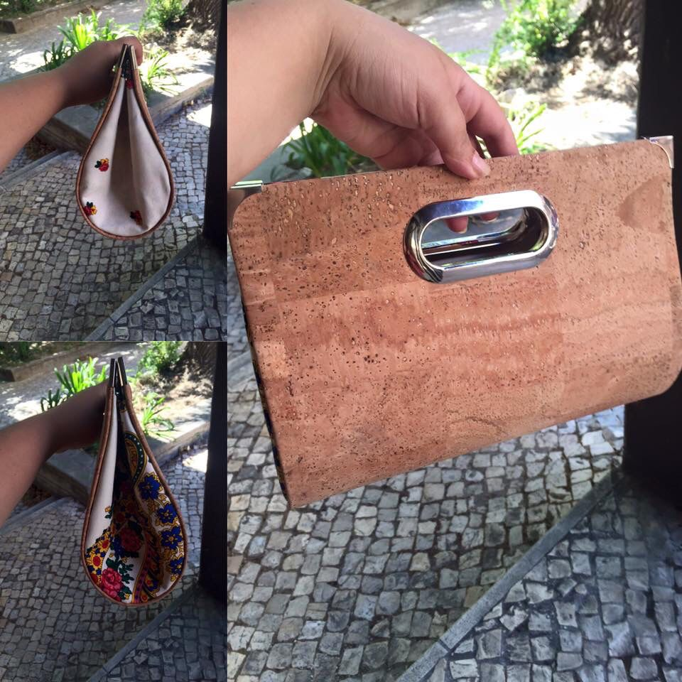Clutch de cortiça e lenço de Viana   Clutch made of cork and Viana scarf