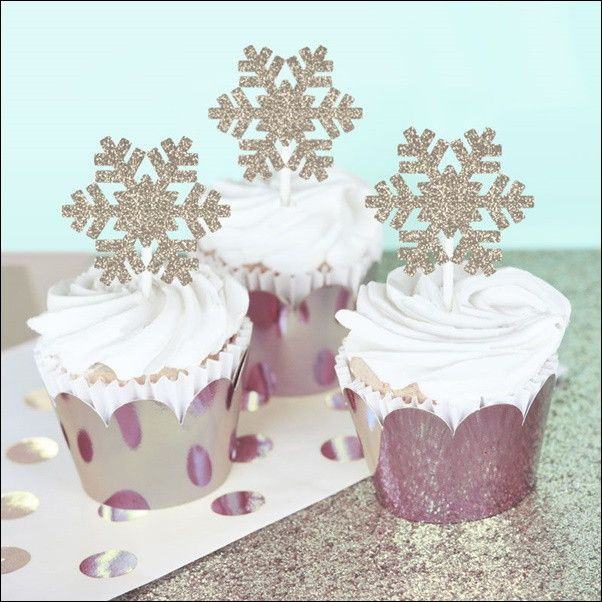 Silver Glitter Snowflake Cupcake Decoration Kit Birthdays and Cake