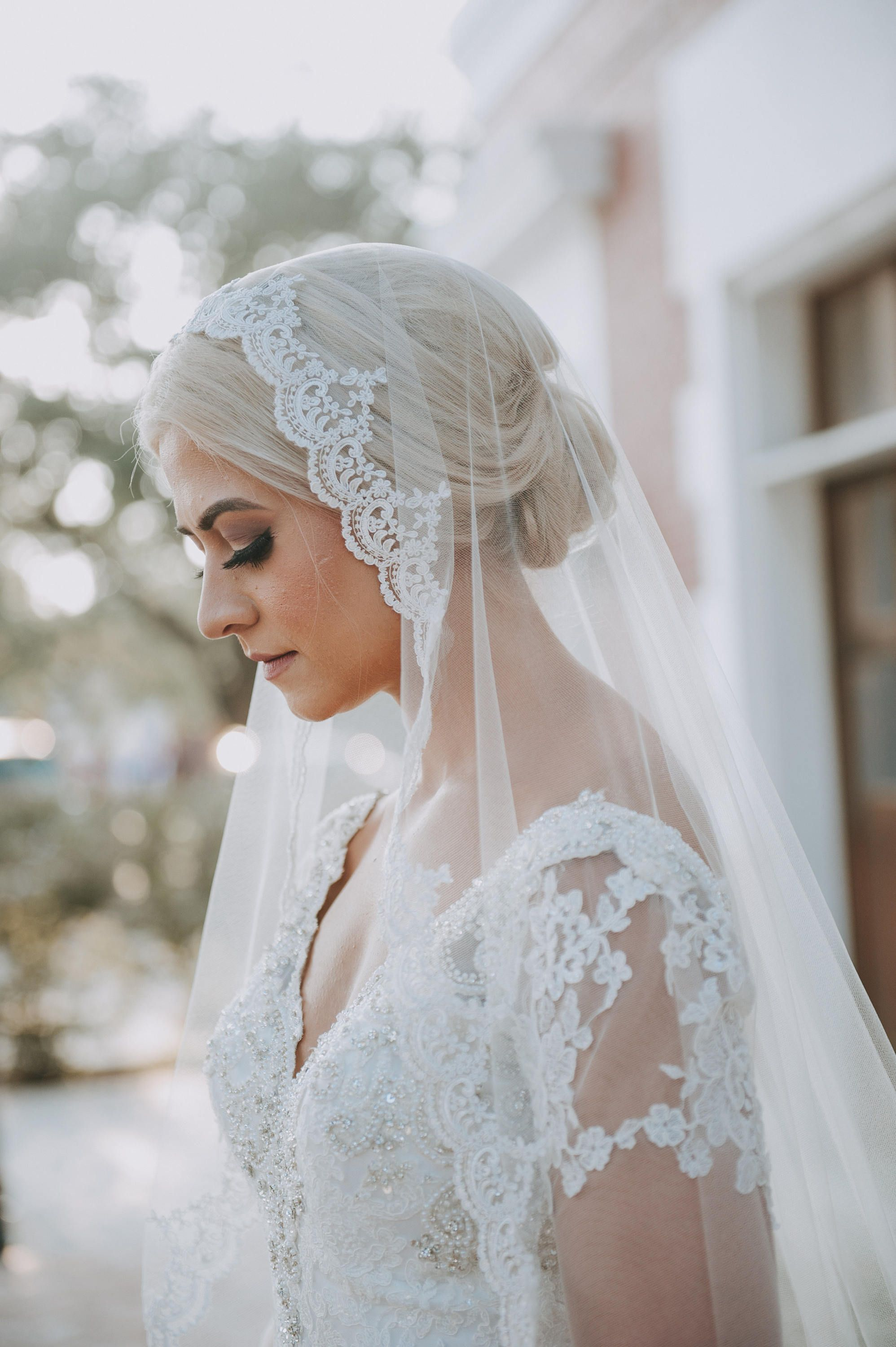 This mantilla wedding veil is stunning! | French Lace Wedding Veil ...