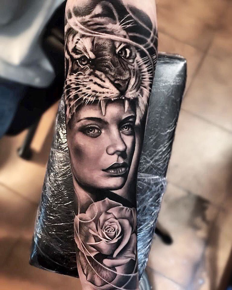 "40bb7ea52bfda Em Morris on Instagram: ""Amazing artist Dode Pras Ink By Bali @dodepras awesome  roses clock tattoo sleeve! @art_spotlight @inksav @voguemagazine ..."