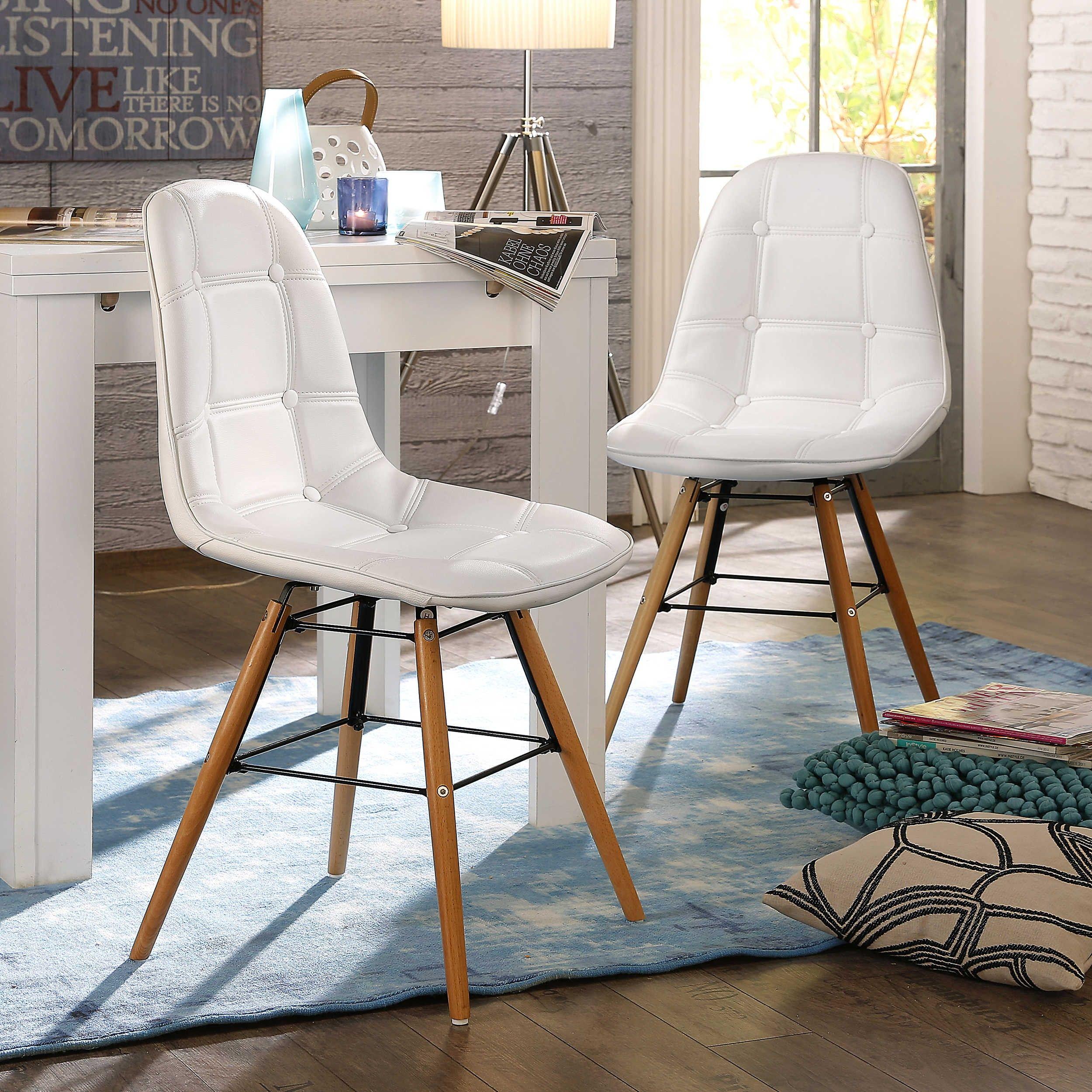Stuhl savona 2er set weiß 4 fuß stühle stühle freischwinger esszimmer