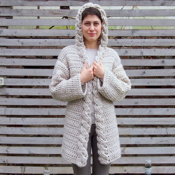 Crochet Pattern hooded cable women cardigan, bulky coat with hood ,  Very Winter…