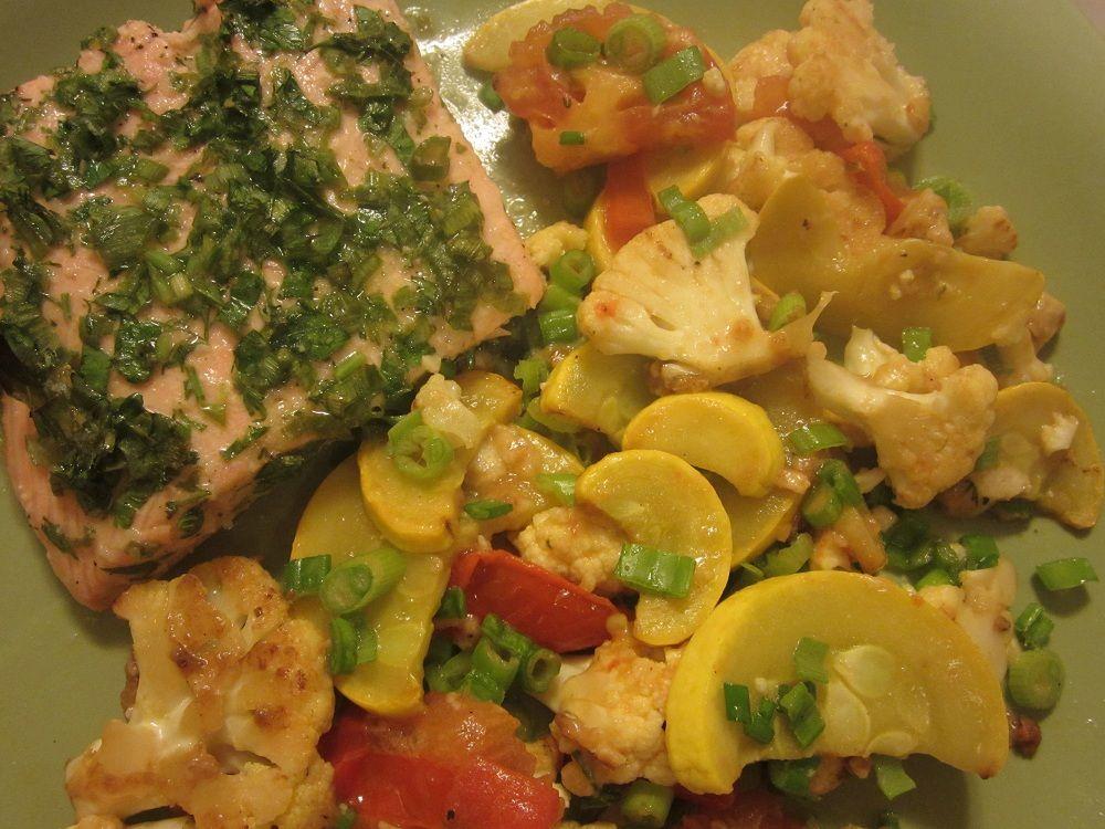 Salmon with herbs & wine