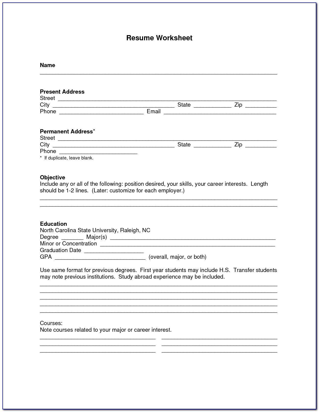 Blank Resume Form For Job Application in 2020 Resume