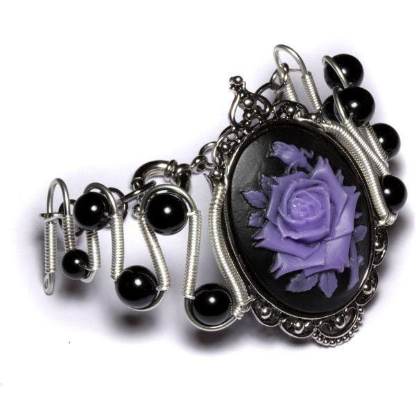 Steamgoth Bracelet Black And Purple Rose Cameo 60 Liked On