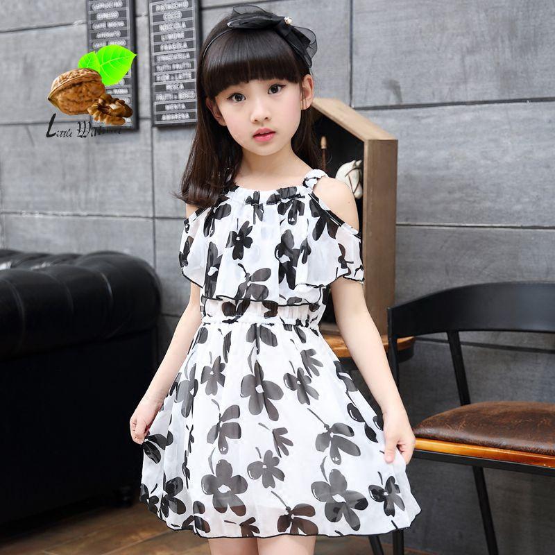 a324c06486ae girl summer princess one-piece dress 2017 child girl summer chiffon print  flower short-