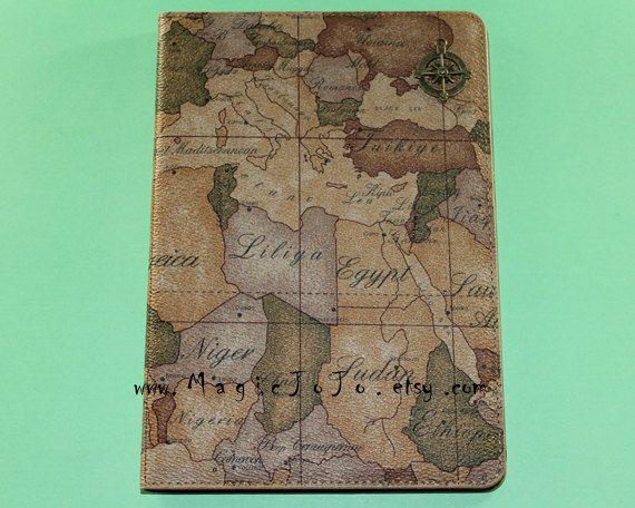 Vintage world Map iPad mini case,iPad mini retina case,iPad air case,iPad 2/3/4 case,Leather iPad case,Travelling the world with compass on Etsy, $24.99
