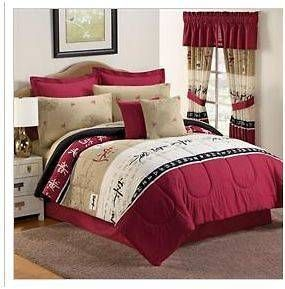 King Size Asian Caligraphy Wisdom Bedding Comforter Set Red Black 10p Bedroom Red Bedroom Comforter Sets Burgundy Bedroom