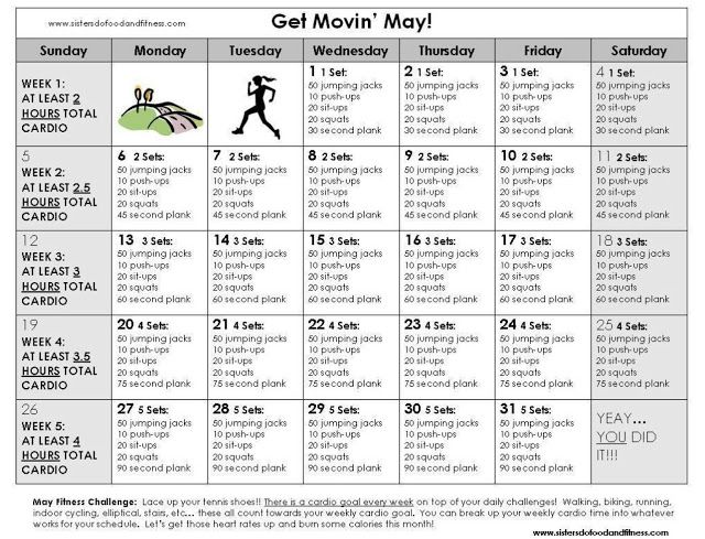 Sisters Do Food And Fitness Get Movin May Workout Challenge 30 Day Cardio Challenge All Over Body Workout