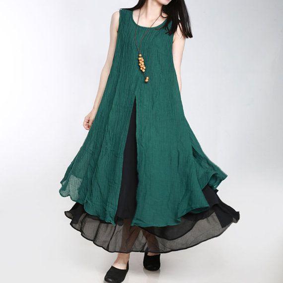 womne leinen kleid frauen sommer lang leinenkleid von babyangella curvy fashion pinterest. Black Bedroom Furniture Sets. Home Design Ideas