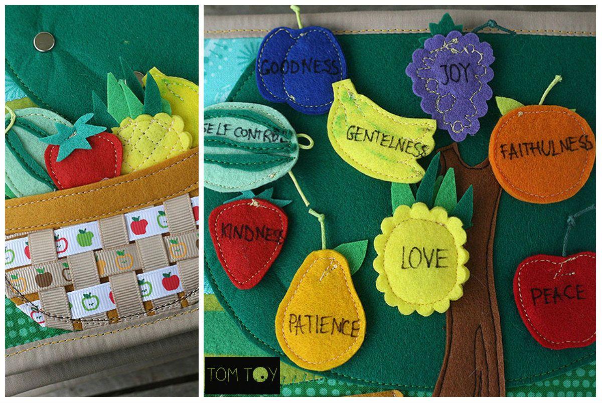 Bible quiet book, church busy book, handmade fabric Bible story, fruit of the spirit