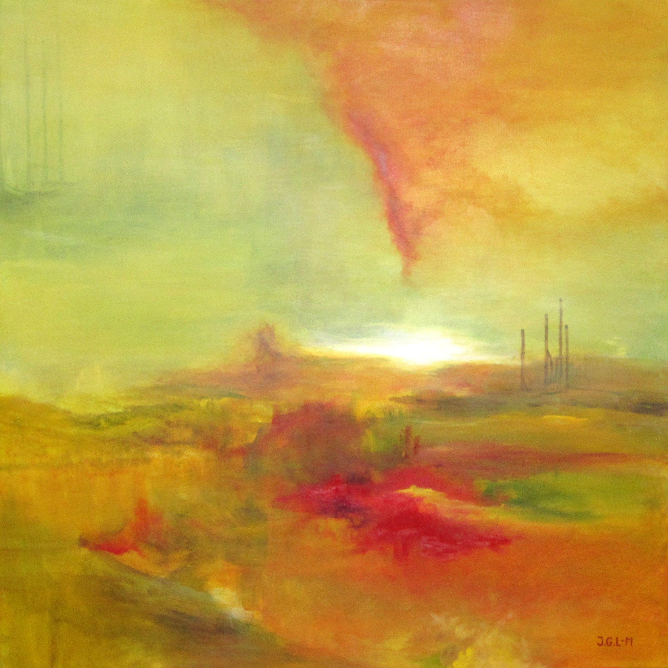 """""""Himlen Gløder"""" - Akryl på lærred, 80x80 cm"""