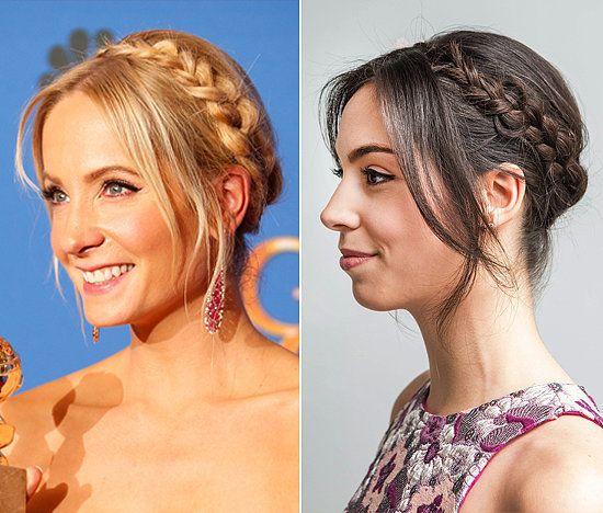 Red Carpet Hairstyle Crown Braid Celebrity Hairstyle With Images Celebrity Hairstyles Milkmaid Braid Hair Styles