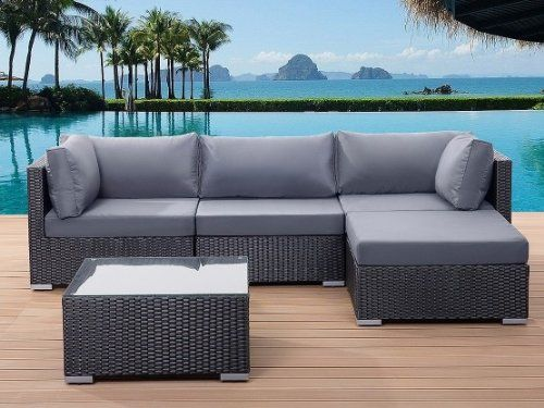 Gartenlounge rattan  Beliani Sano Black Wicker Garden Furniture Sectional Outdoor ...