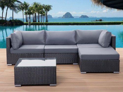 Beliani Sano Black Wicker Garden Furniture Sectional Outdoor Lounge ...