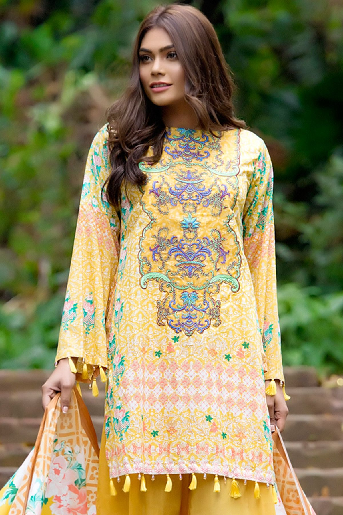 Lawn Embroidered dresses for pakistani girls new photo