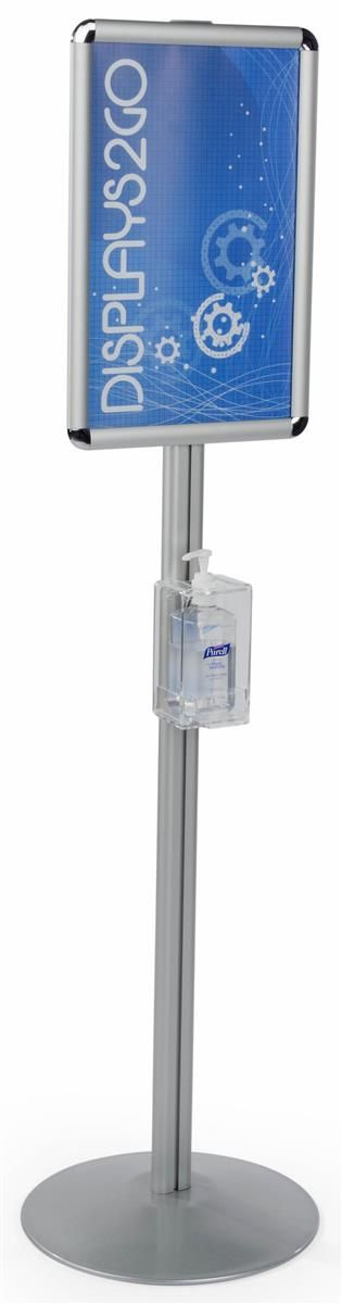 Hand Sanitizer Dispenser With 11 X 17 Sign Frame Floor Standing