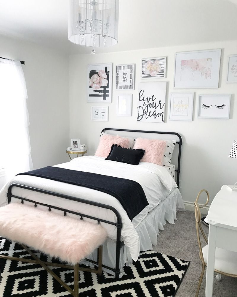 Black and blush pink girls room decor great teenager for Black white pink bedroom ideas