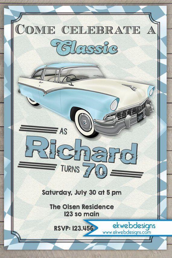 Classic Car Birthday invitation – Vintage car Adults Birthday Party Invitation