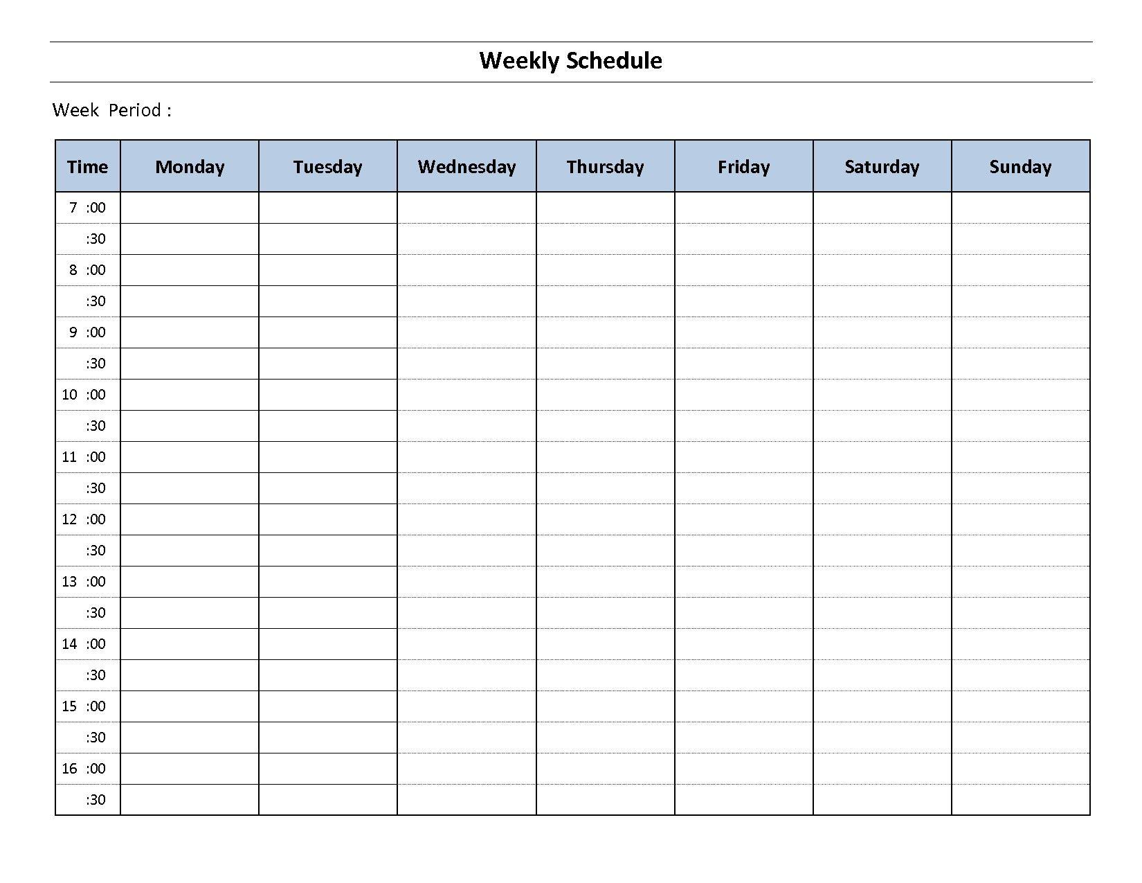 Weekly Calendar Template Pdf Document Printable Templates