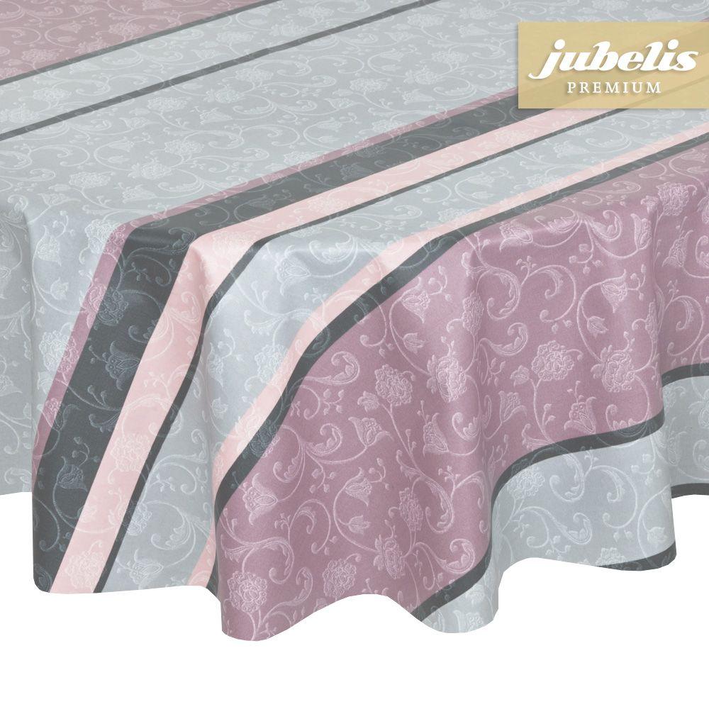 jubelis baumwolle vinyl beschichtet tischdecke rund muster lisanne taupe altrosa und grau. Black Bedroom Furniture Sets. Home Design Ideas