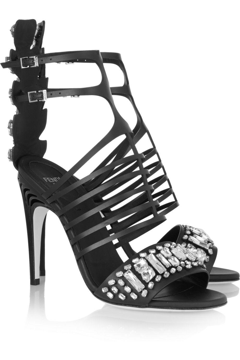 964e822ebbea19 Fendi crystal-embellished leather cage sandals