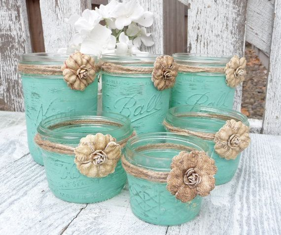 rustic mint wedding shabby chic upcycled country wedding decor candle holders and vases on