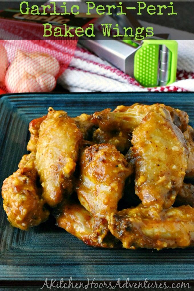 With just a kick of spice and a LOT of garlic, these Garlic Peri-Peri Baked Wings taste like garlic wings from my favorite wing joint only healthier! #4theLoveofGarlic #Garject