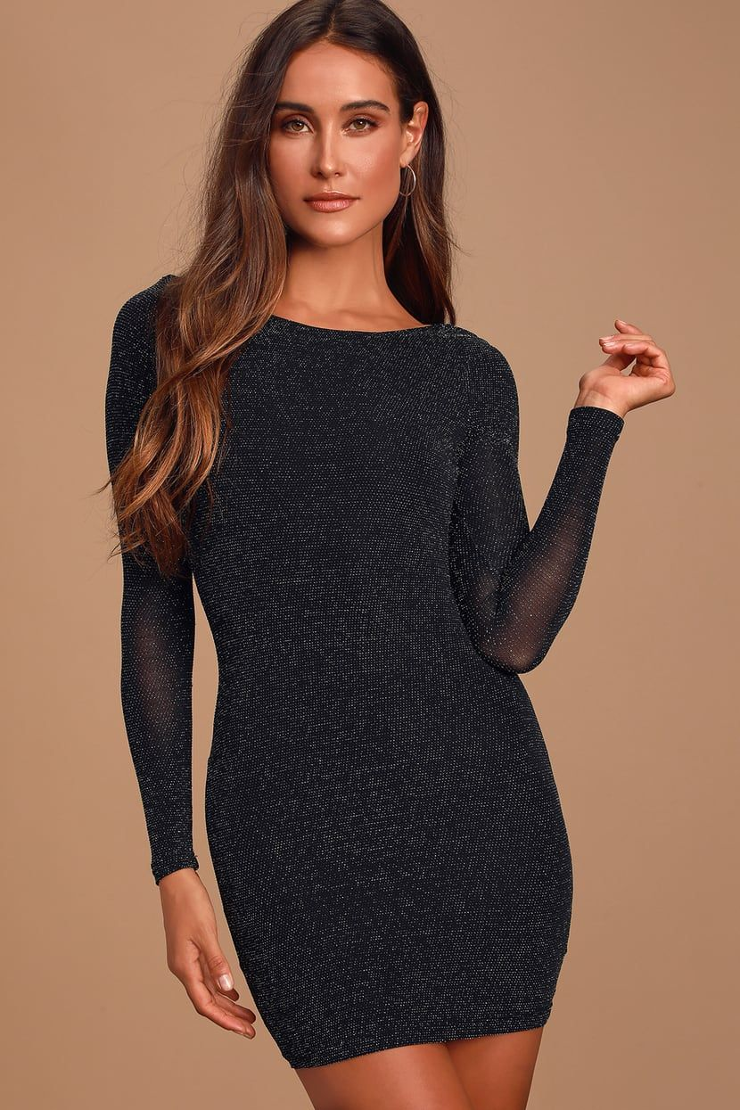 Gift of Love Black and Silver Backless Long Sleeve Bodycon Dress #shortbacklessdress