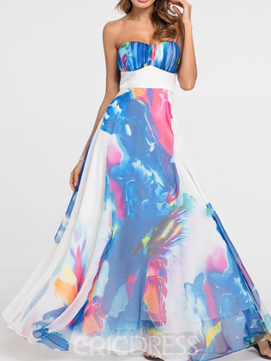 Womenus dress blue floorlength sleevelss strapless in