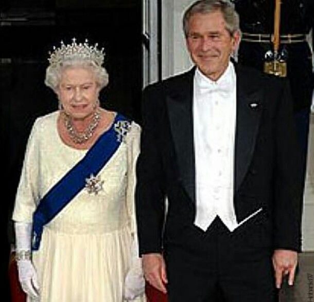 George Bush And Queen Elizabeth Note His Left Hand Be Aware