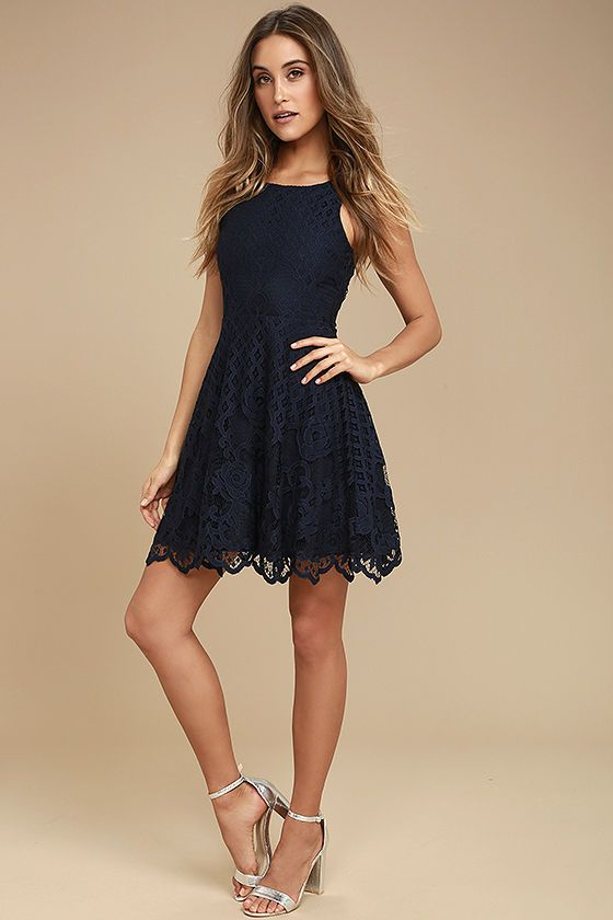Black Swan Desirae Navy Blue Lace Skater Dress