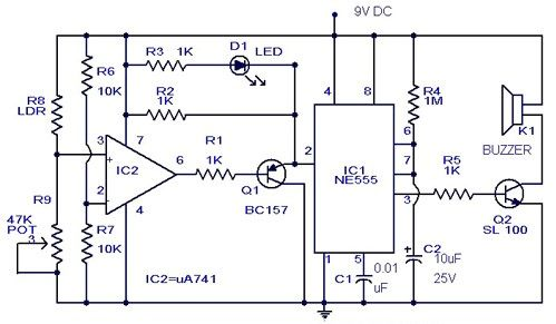gadgetronicx intruder alarm this circuit uses ne555 to work as an rh pinterest com Continuity Tester Flashlight Using a Continuity Tester