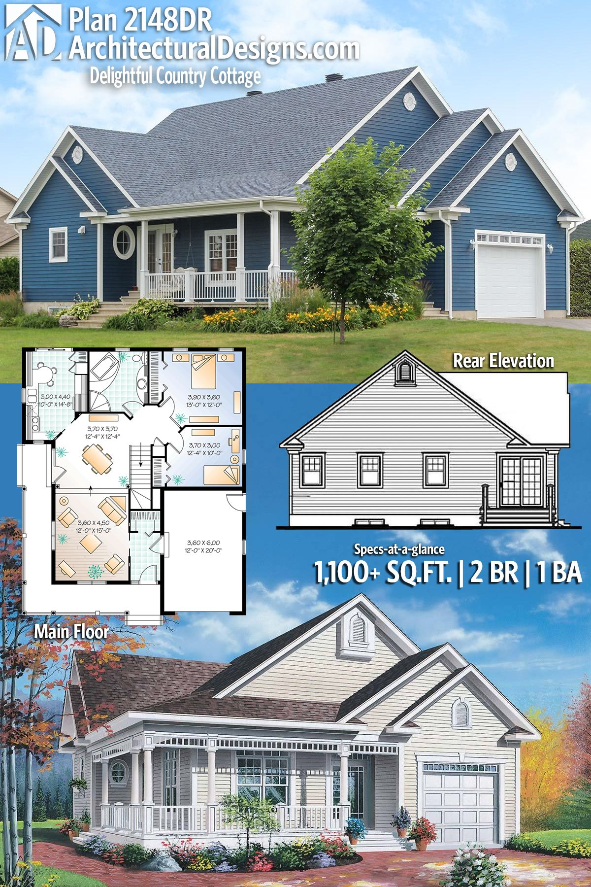 Plan 2148dr Delightful Country Cottage Country Cottage House Plans Traditional House Plans Cottage Style Homes