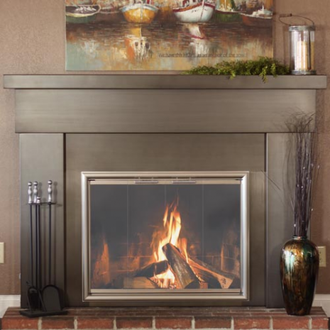 Contemporary fireplace mantel with surround. Modern mantel shown with  optional mantel legs, surround, - Custom Steel Fireplace Mantel Mantels, Fireplace Mantel And
