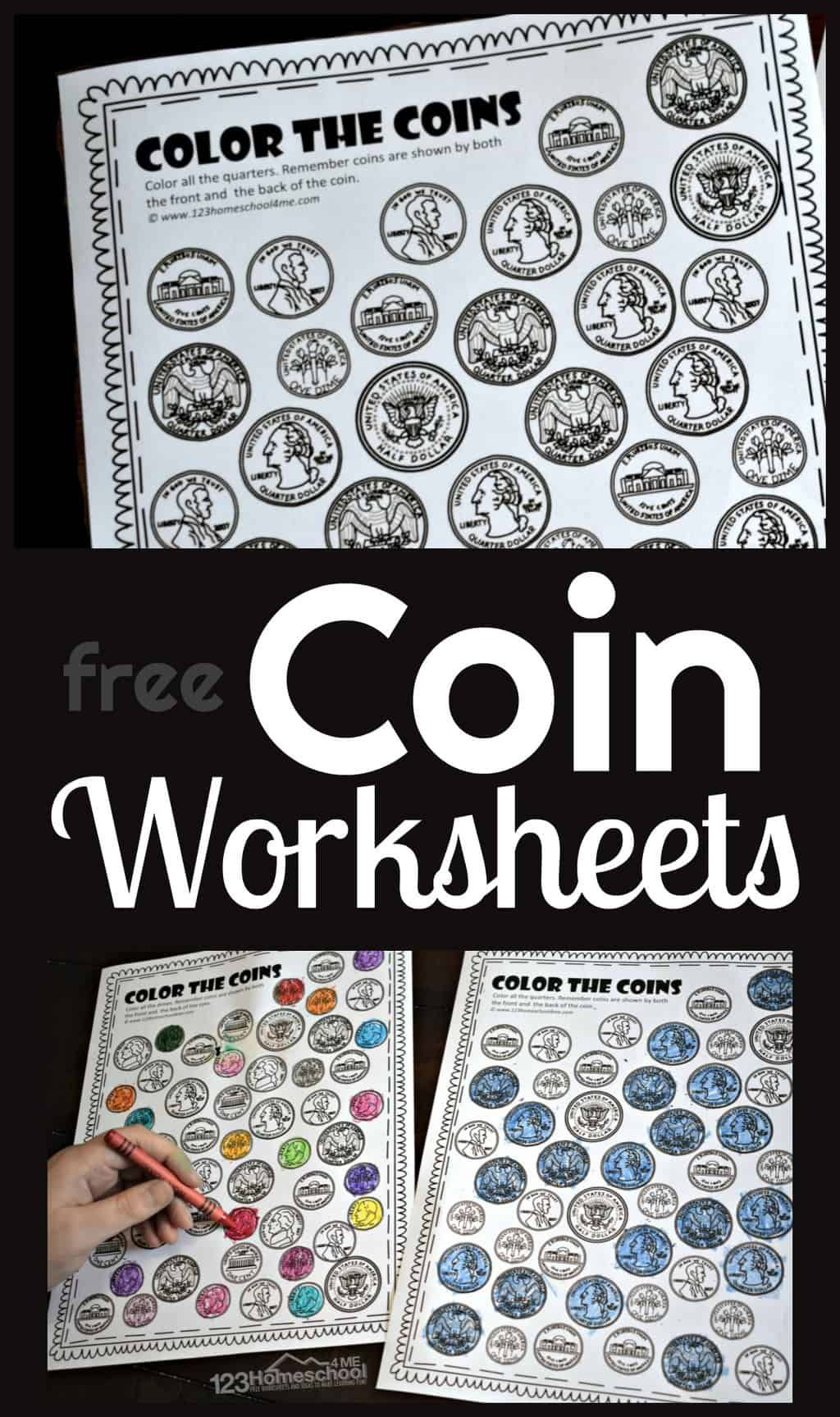Free Color The Coins Money Worksheets In