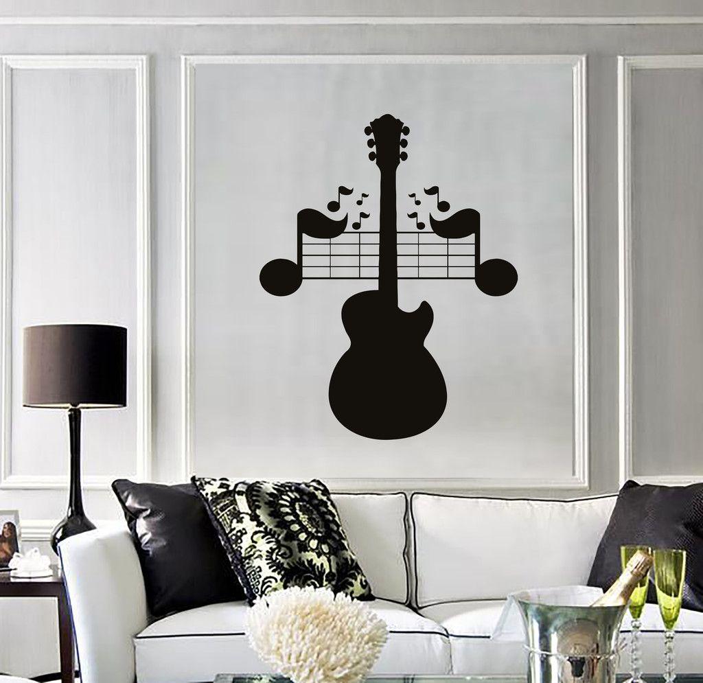 Wall Decal Sheet Music Guitar Musical Instrument Vinyl