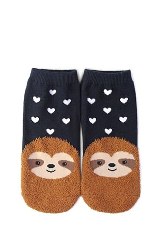 f0d21e933ee Fuzzy Sloth Ankle Socks