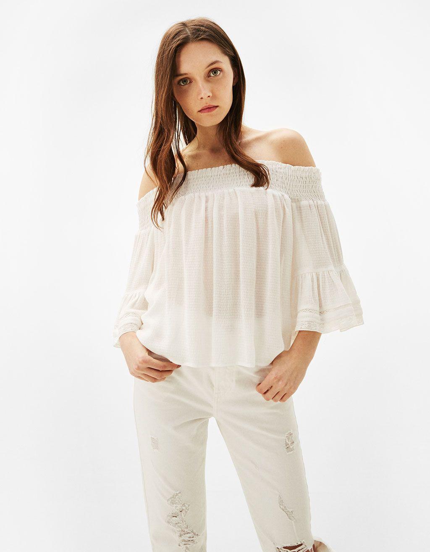 67e2b84e1 Blusa manga 3/4 goma escote   fashion DAILY   Blouse, Shirt blouses ...