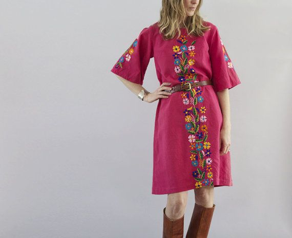 The Suki: Vintage Hot Pink Boho Beach Dress with Embroidery from The Symmetric on Etsy.