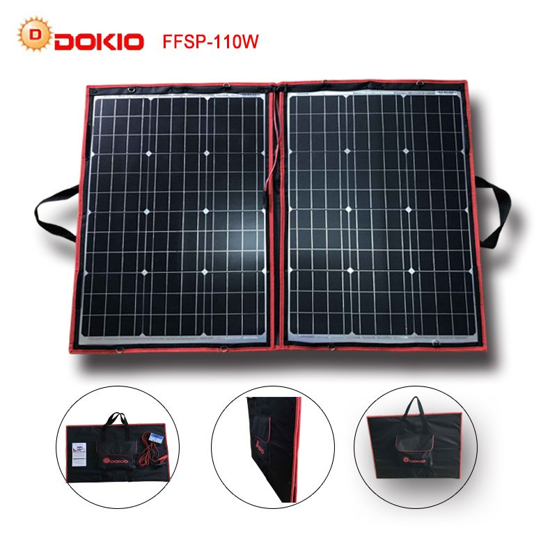 Click To Buy Dokio 90w 100w 110w 55wx2pcs 18v Flexible Black Solar Panels China Foldable 12 24v Volt Controller 110 Watt Panels Solar Affiliate