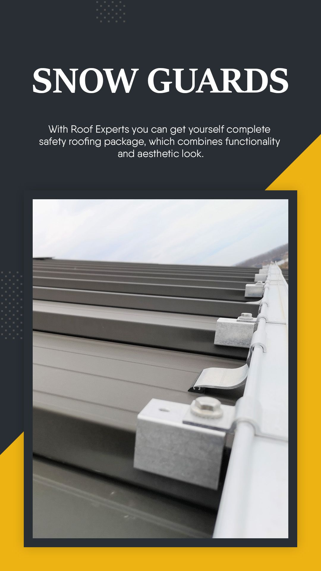Our Snowguards Solutions Start From 10 L F Metalroof Metalroofing Metalroofs Steelroof S Standing Seam Metal Roof Roofing Specialists Metal Roof Houses