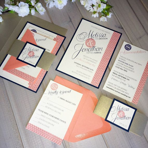 Coral Wedding Invitations Coral And Gold Invitations Chevron Etsy Coral Wedding Invitations Navy Wedding Invitations Navy Gold Wedding Invitations