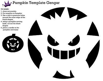 pumpkin template gengar  Pumpkin Carving Template of Gengar from Pokemon   Pokemon ...