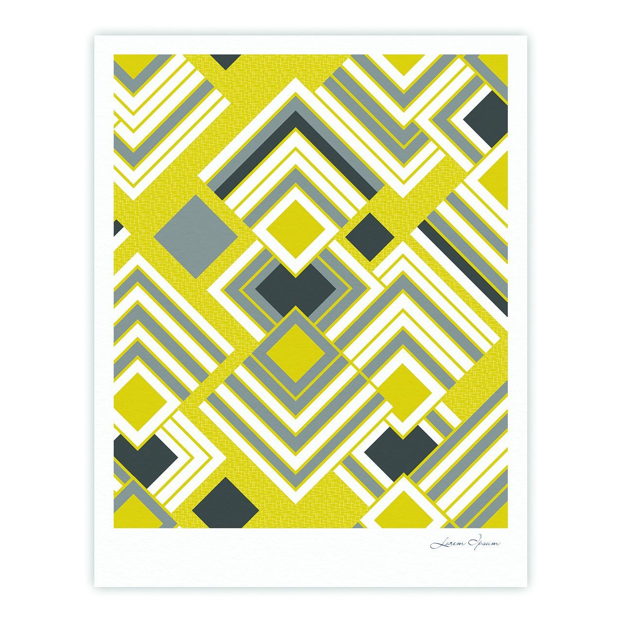 "Jacqueline Milton ""Luca - Gold"" Yellow Gray Fine Art Gallery Print"