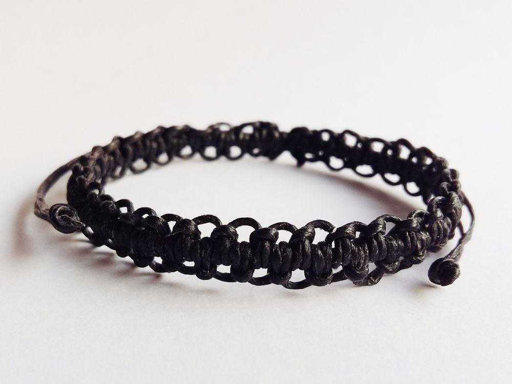 Wax Cotton Bracelet Friendship Wristband Cord Weave Thai Monk Blessed Black