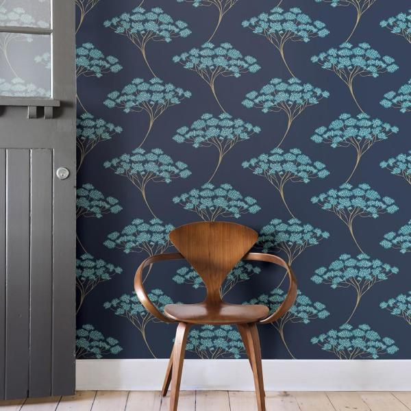 NuWallpaper 30.75 sq. ft. Blue Ficus Peel and Stick