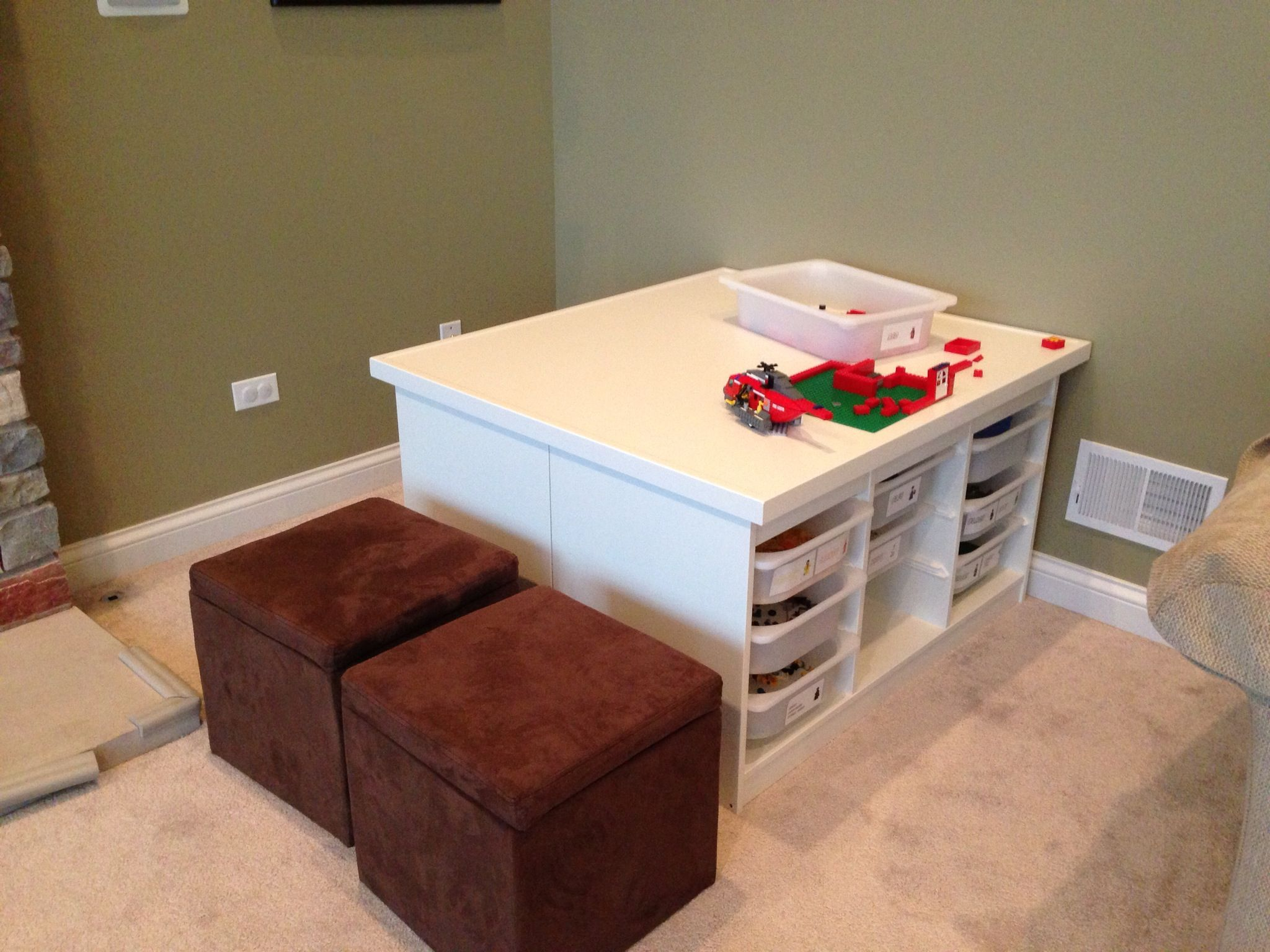 2 Ikea Trofast units back to back with an MDF table top Great for
