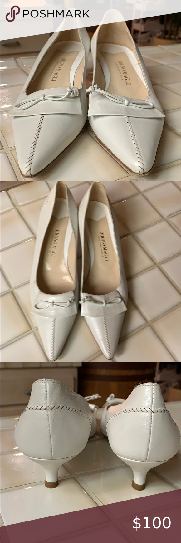 Bruno Magli Ivory Leather Kitten Heels Sz 8 In 2020 Kitten Heels Shoes Women Heels Heels